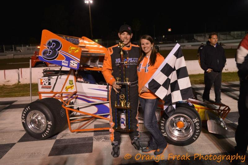 Kyle Vanderpool in victory lane at Madera Speedway