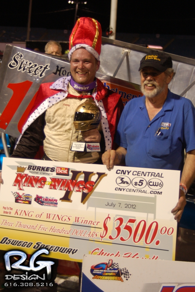 Dave Gruel and Steve Miller in King of Wings Victory Lane