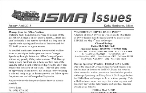 Screen Capture of ISMA Issues April