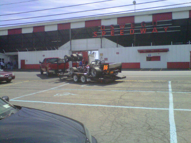 Hal LaTulip pulls through the gates at Oswego Speedway