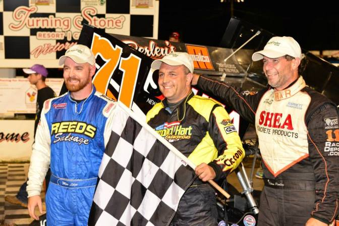 Top three ISMA finishers at Oswego Speedway