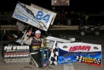 Mike Lichty celebrates ISMA win at Sandusky Speedway