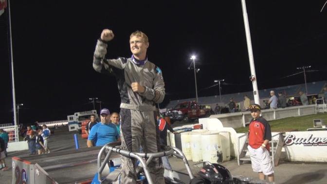 Shaun Gosselin in Oswego Speedway victory lane