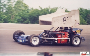 Wayne Landon in his supermodified at Kalamazoo Speedway