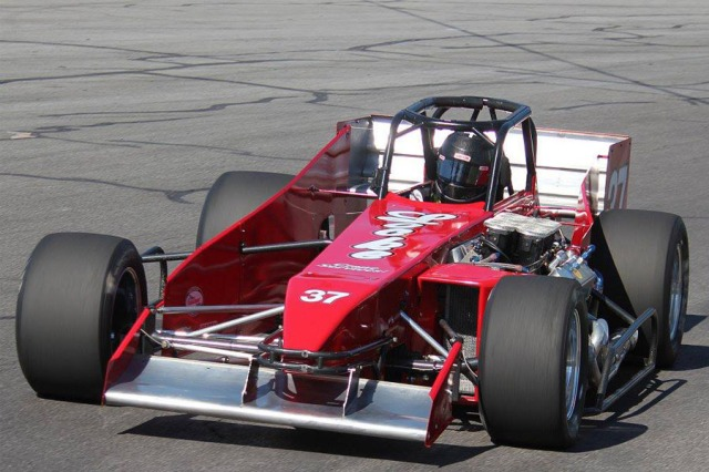 Randy Ritskes in the Locke Crane Service Oswego Speedway supermodified photo by Mike Johnson