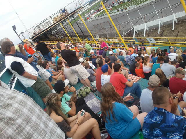a good crowd enjoys supermodified racing at oswego speedway