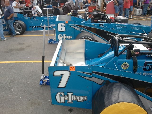 Nicotra Racing supermodifieds in pits at Oswego Speedway