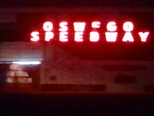 Oswego Speedway neon sign at night