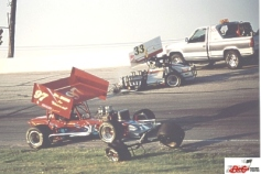 Randy Ritskes looped his supermodified as the safety crew attends to Shullick, Jr. who was ok.