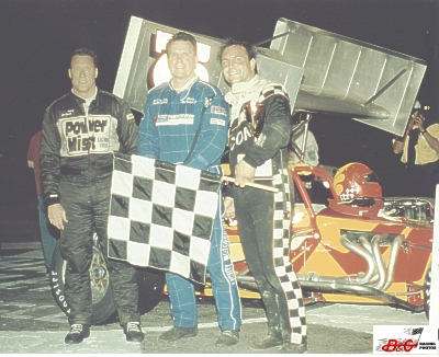 Joe Gosek Dave McKnight Lou Cicconi in Toledo Speedway Victory Lane 2001 ISMA
