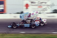 Gary Allibritain was behind the wheel of the Soule Racing 32 at Lancaster Speedway. Jim Shirey rides to the outside in this ISMA heat race.