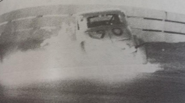 Billy Blum's car erupts into flames at 1960 Oswego Speedway International Classic