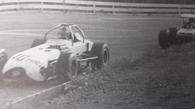Nolan Swift and Bentley Warren at 1968 Oswego Speedway International Classic by Speedway Press