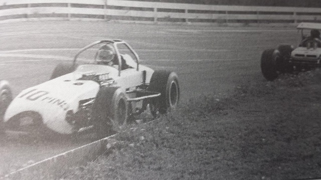 Nolan Swift and Bentley Warren at 1968 Oswego Speedway International Classic by Speedway Press