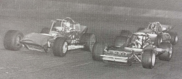 Steve Gioia looks for a way past Fred Graves and Gary Allibritain in 1976 Oswego Speedway International Classic