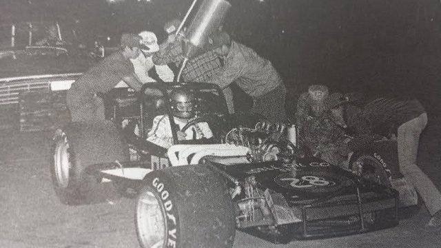 Kempton Dates pits for fuel while leading 1977 Oswego Speedway International Classic