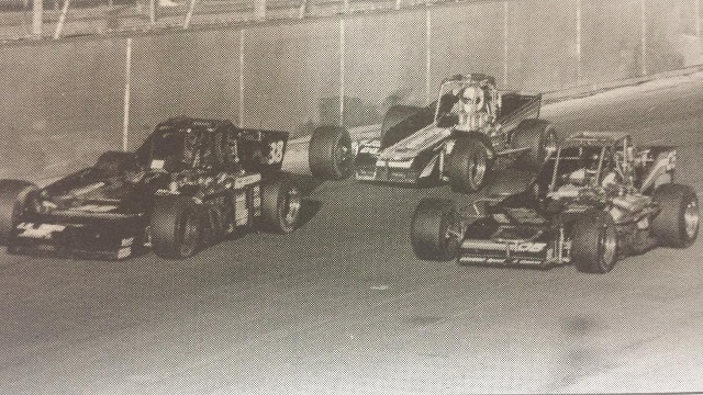 Joe Gosek chases Cliff Graves and Pat Abold in 1991 International Classic at Oswego Speedway photo by Speedway Press