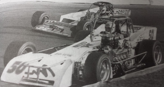 Mike Muldoon passses Mike Ordway for 1995 Oswego Speedway International Classic 200 win by Speedway Press