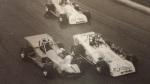 Davey Hamilton rides behind Mike Muldoon and Eddie Bellinger Jr at Oswego Speedway 1997 International Classic
