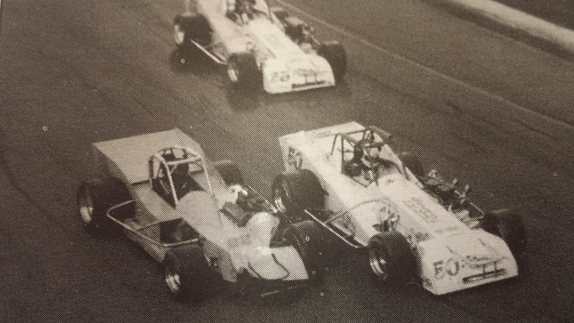 Davey Hamilton rides behind Mike Muldoon and Eddie Bellinger Jr at Oswego Speedway 1997 International Classic