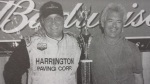 Clyde Booth and Mike Ordway celebrate their 2003 Oswego Speedway International Classic win