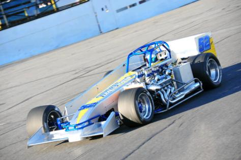 David Danzer streaks through turn one at Oswego Speedway. (Oswego Speedway Photo)