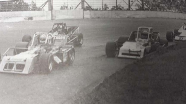 Warren Coniam Gene Lee Gibson and Bentley Warren battle for position at Oswego Speedway International Classic