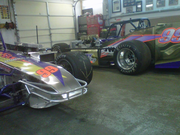 Strong Racing supermodifieds sit in garage