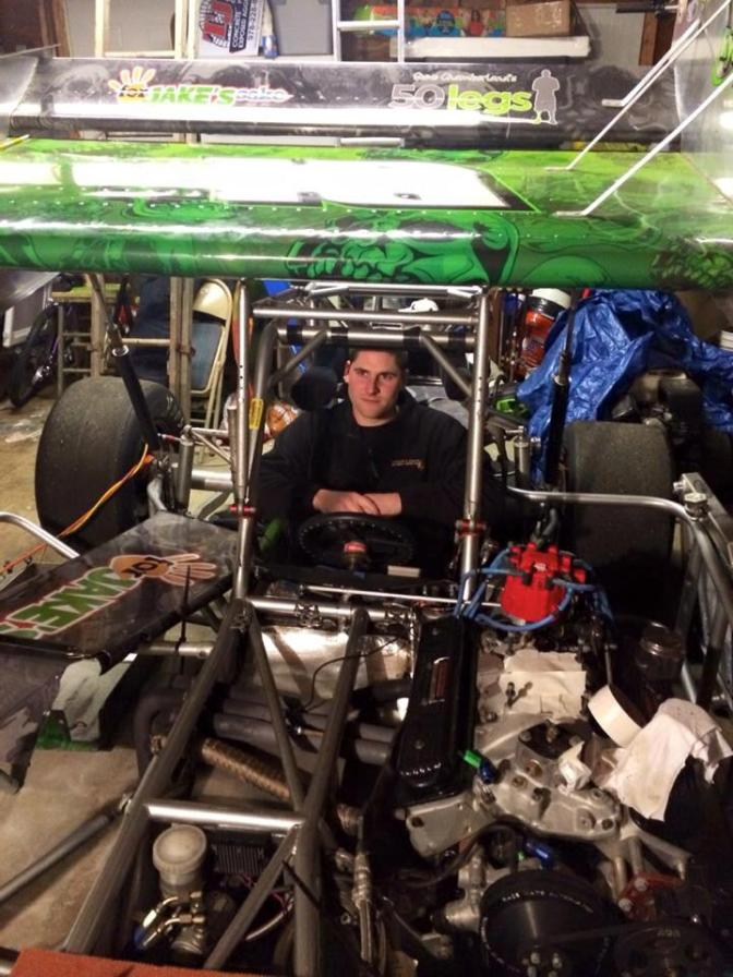 Mike Netishen gets fitted for the TJCO 305 supermodified