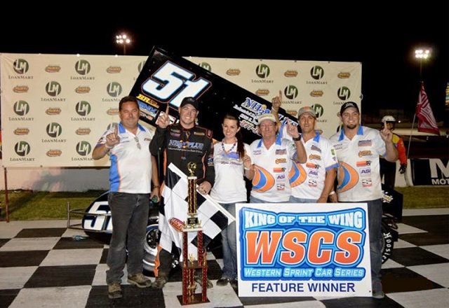 Kyle Vanderpool and Penix Racing Crew in Madera Speedway victory lane after sprint car win