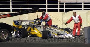 2014 Mr. Novelis Supermodified David Danzer crashed early at Oswego Speedway