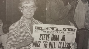 Steve Gioia's mother Betty holds special newspaper proclaiming son as 1976 International Classic winner
