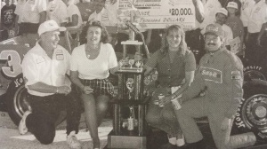 Doug Didero and Skip Matczak with their wives in Oswego Speedway victory lane after winning 1996 International Classic 200