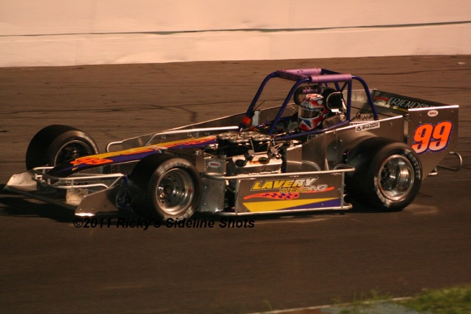 The Jersey Jet Joey Payne, Jr. in the Strong Racing Plum Krazy 99 supermodified at Oswego Speedway