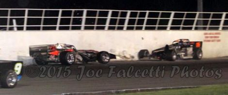 Kody Graham and Dave Cliff crash at Oswego Speedway
