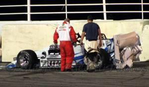 Michael Muldoon crash 2015 Oswego Speedway Mr. Supermodified