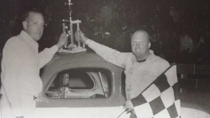 Billy Blum after winning 1958 International Classic at Oswego Speedway