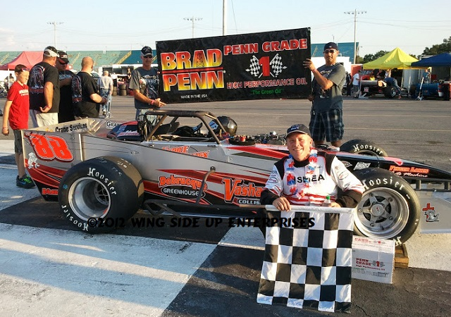 Randy Ritskes with Darrat Racing supermodified at Oswego Speedway