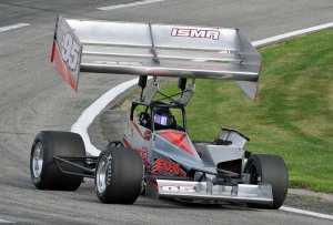 Dave Shullick Jr rounds a corner in his ISMA supermodified at Lee USA Speedway